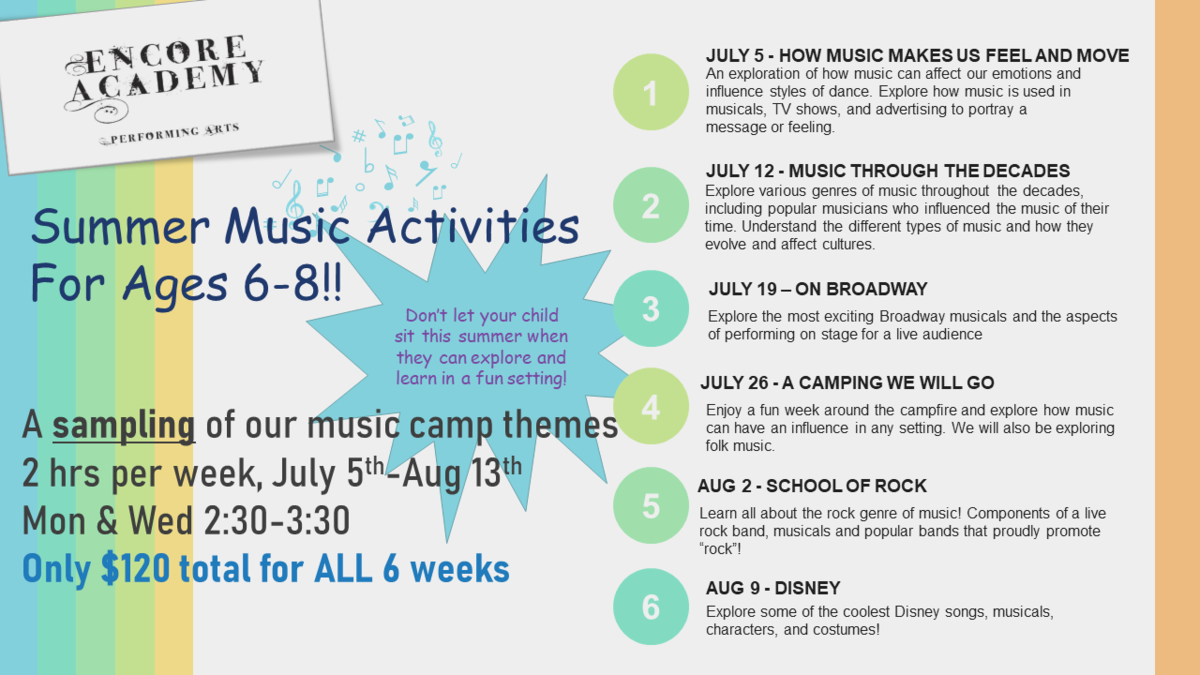 Summer Music Activities for Ages 6-8 (following music camp themes: 2 hours/week from July 5 - Aug 11)